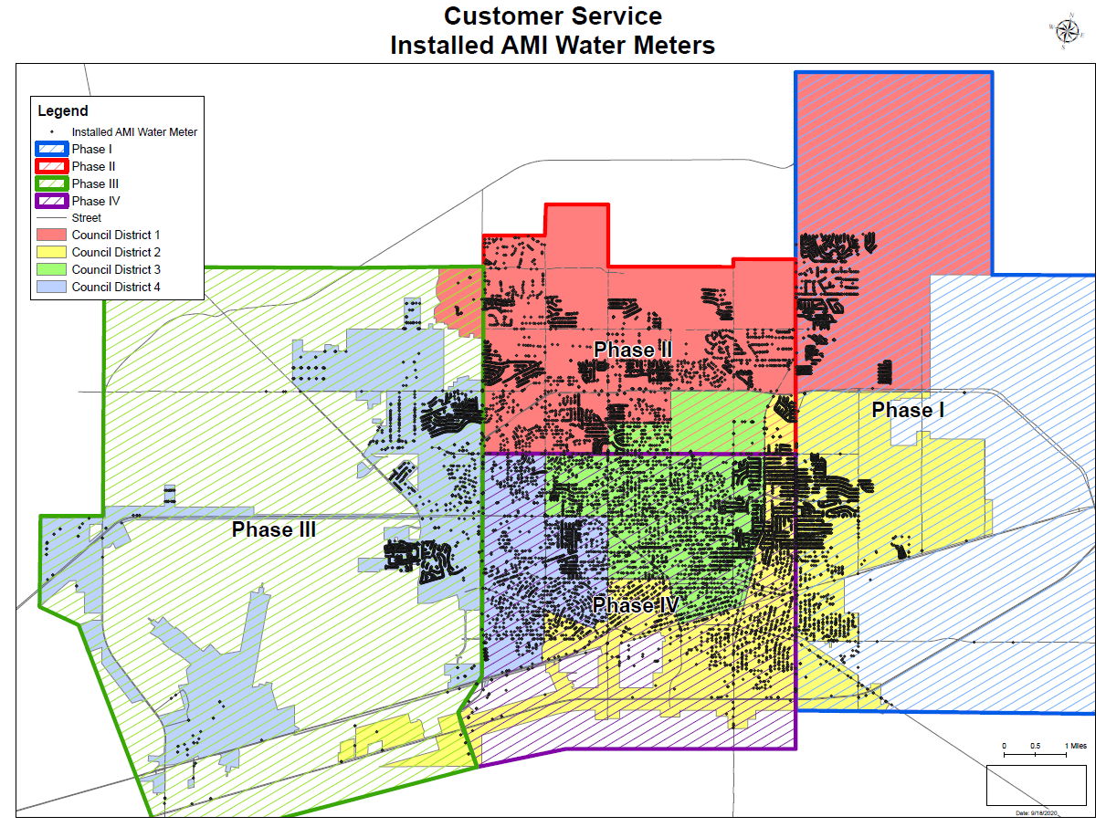A Map showing Installed AMI-Water Meters in Midland separated by phases.